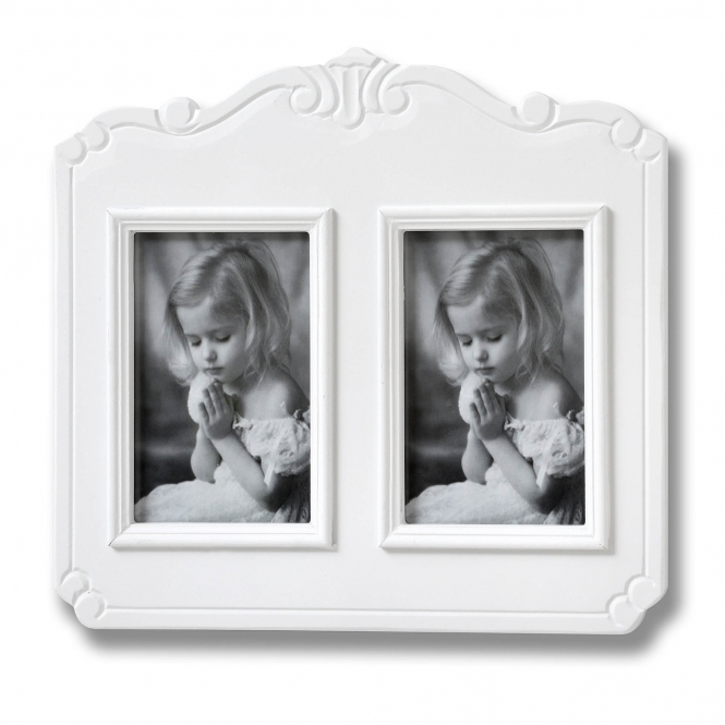 Fleur White 2 Picture Shabby Chic Photo Frame
