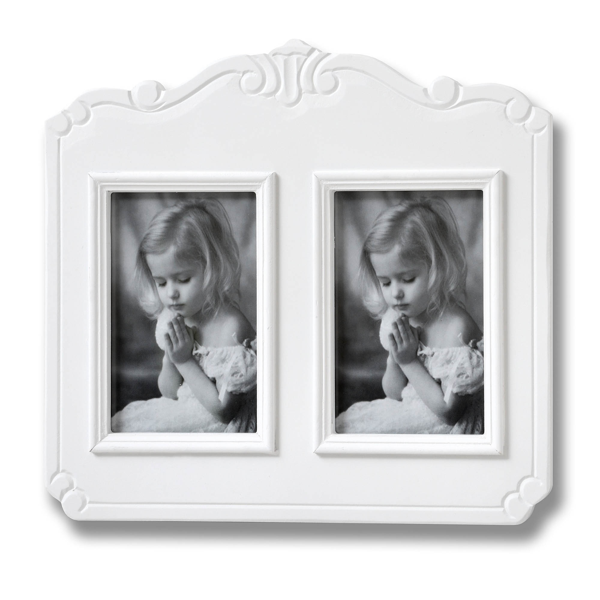 Fleur White 2 Picture Shabby Chic Photo Frame | HomesDirect365