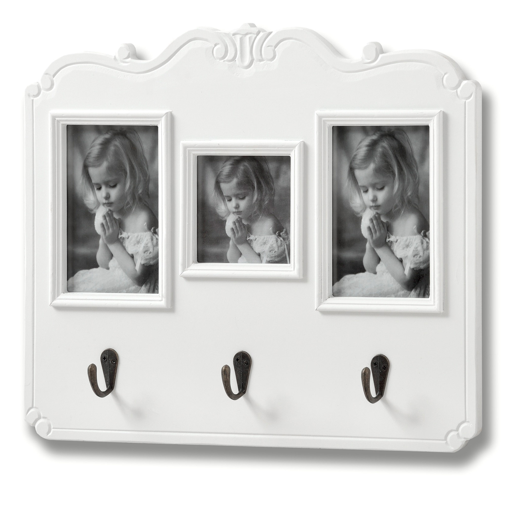 Fleur White 3 Picture Shabby Chic Photo Frame w/Hooks | HomesDirect365