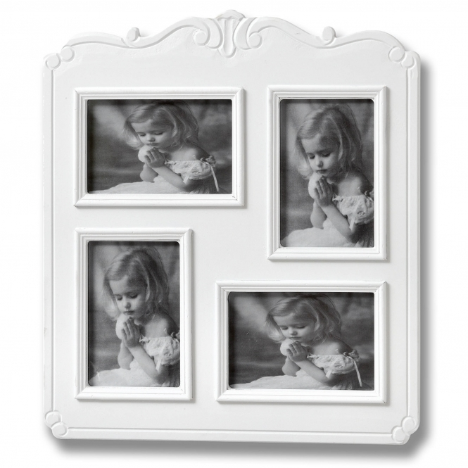 Fleur White 4 Picture Shabby Chic Photo Frame