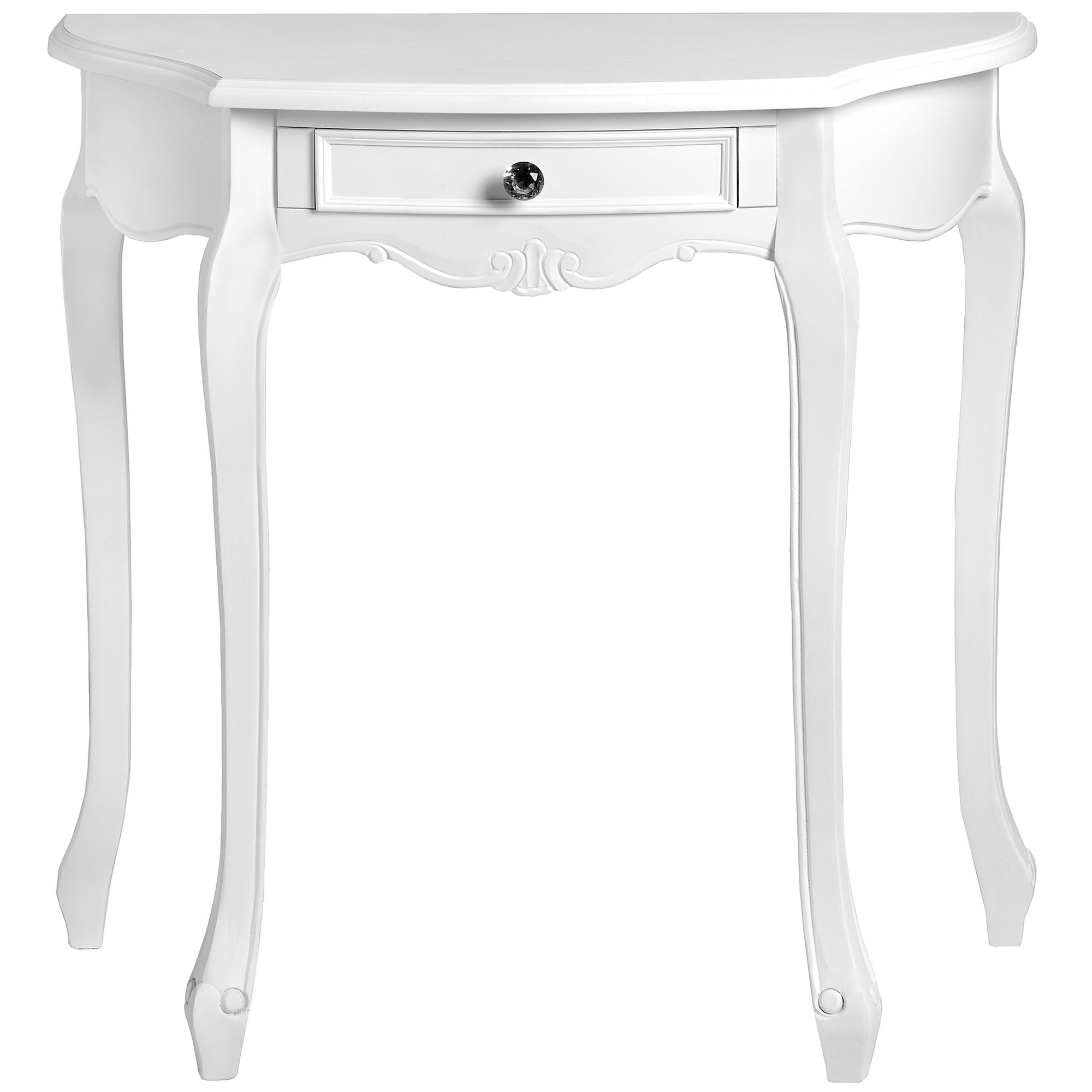 Fleur White Half Moon Shabby Chic Console Table Bedroom HomesDirect365