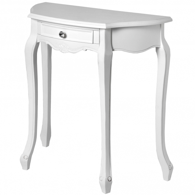 Fleur White Half Moon Shabby Chic Console Table
