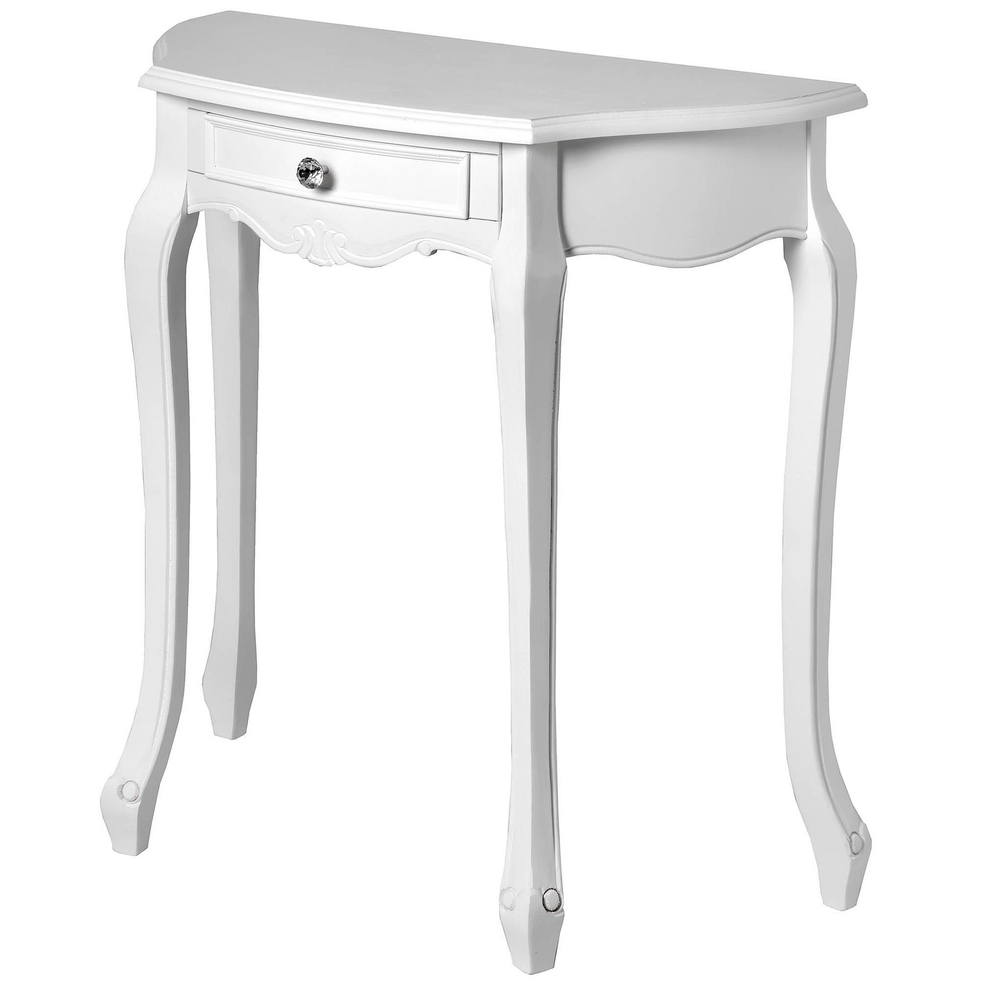 Fleur White Half Moon Shabby Chic Console Table