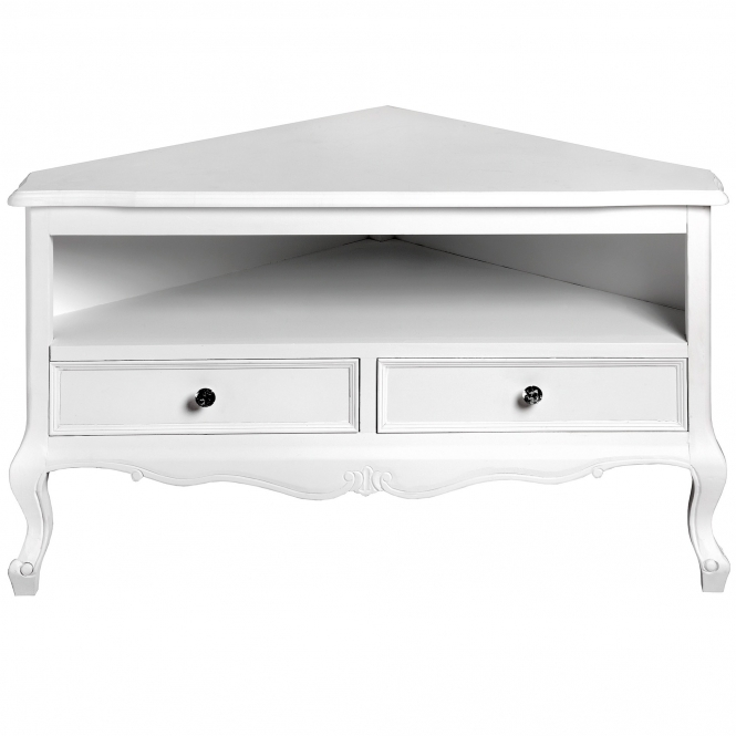 Fleur White Shabby Chic Corner TV Unit