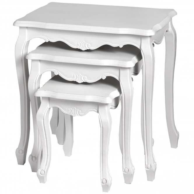 Fleur White Shabby Chic Nest of Tables