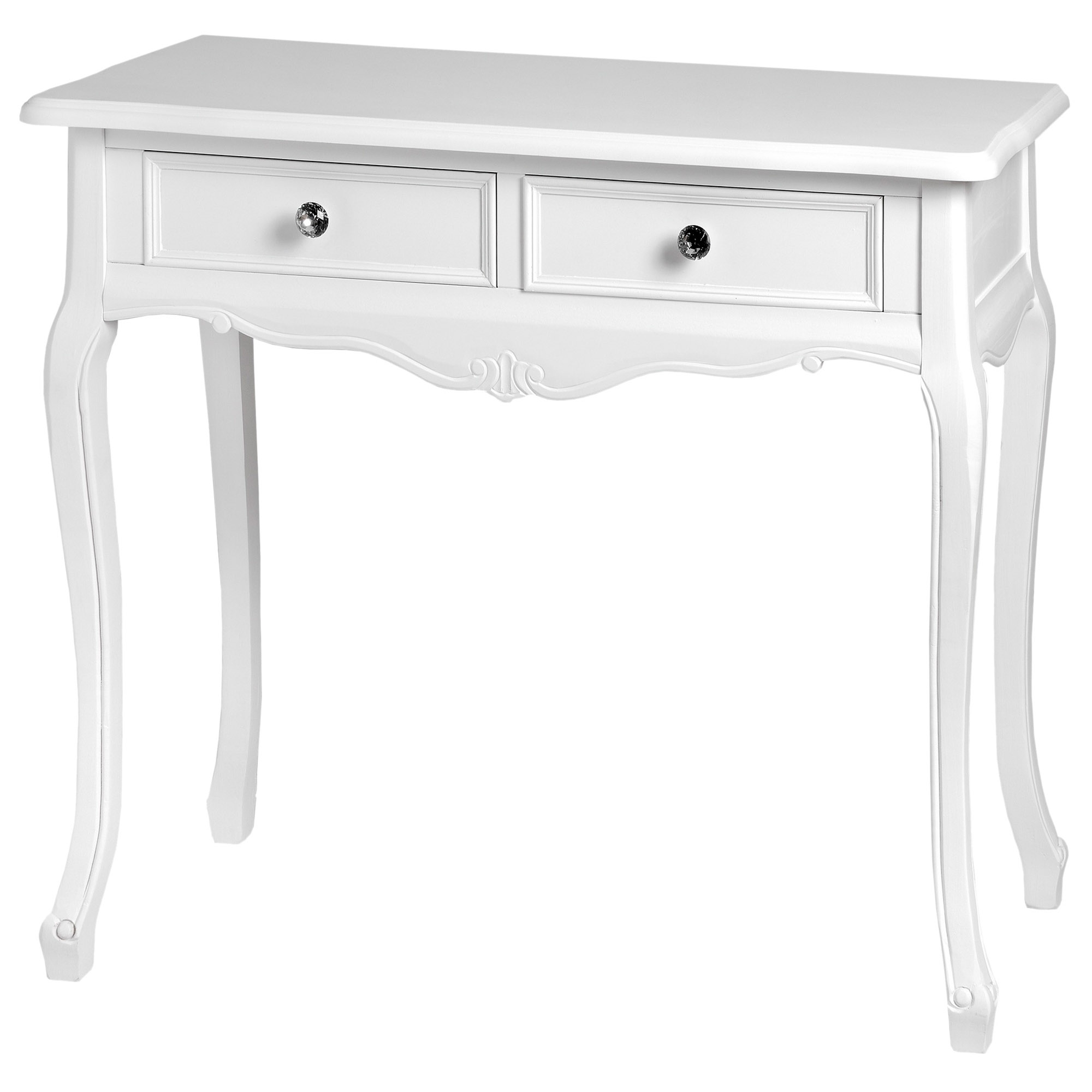 Fleur White Two Drawer Shabby Chic Console Table Homesdirect365