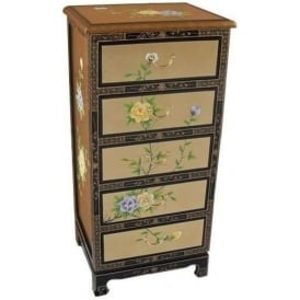 Floral Antique French Style Chest of Drawers
