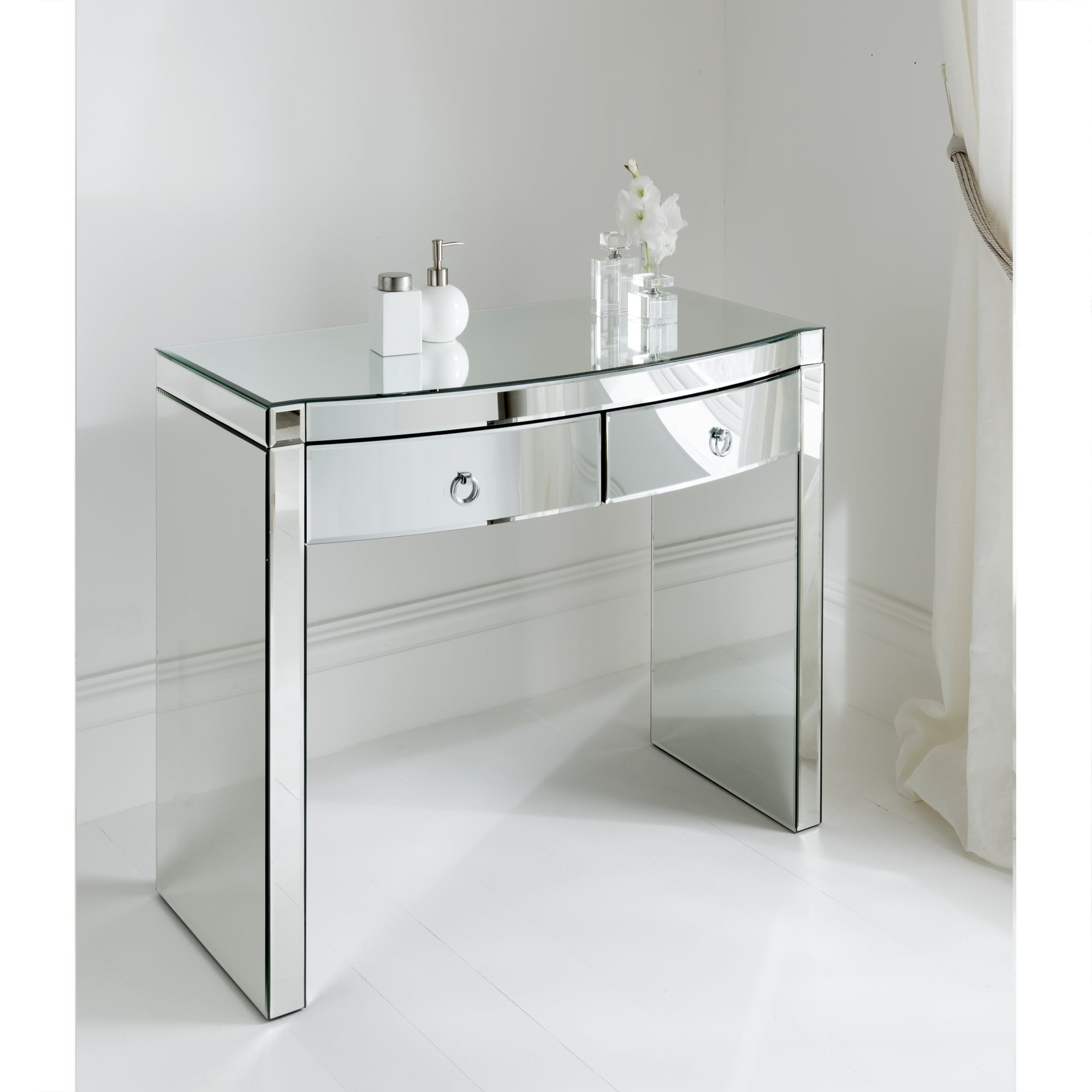 glass bedroom furniture florence mirrored dressing table clear glass furniture 11698