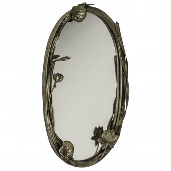 Flowers Antiqued Silver Mirror