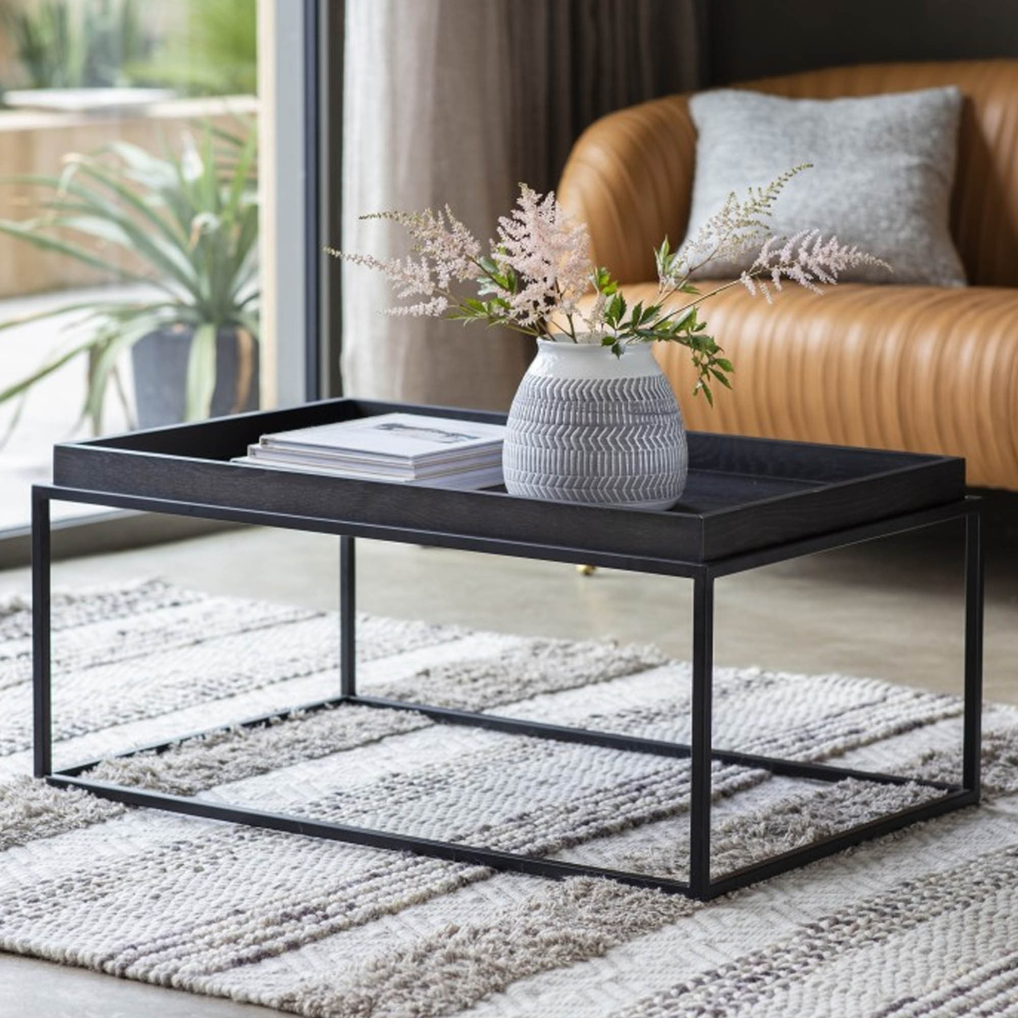 Forden Tray Coffee Table Black Modern Coffee Table Industrial Coffee Table