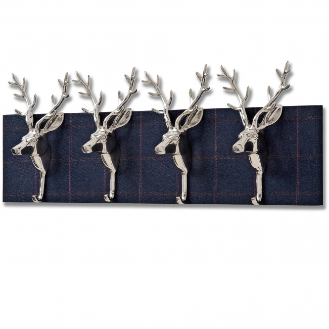 Four Stag Head Coat Hooks