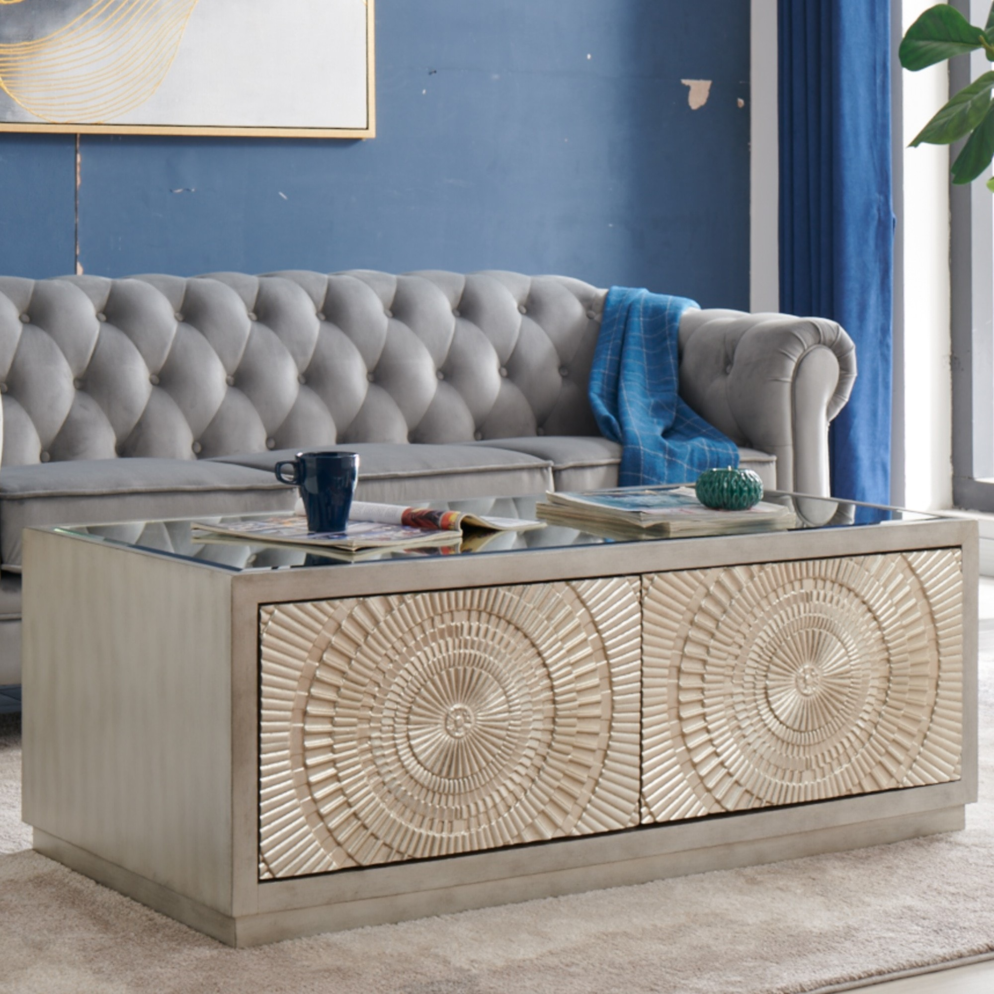 Frenso Coffee Table Silver Silver Coffee Table Modern Coffee Table Storage Coffee Table