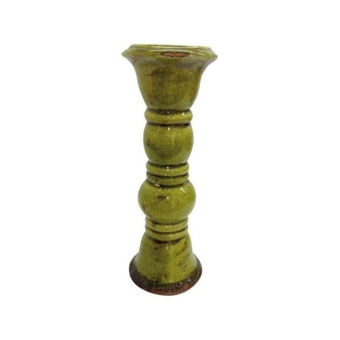 Fresh Green Crackle Glazed Candle Stand with Distressing