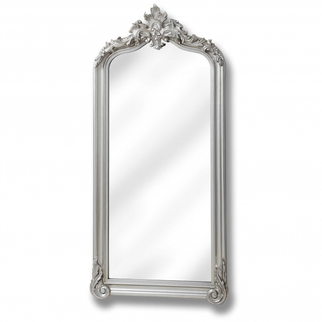 Full Length Antique French Style Brushed Silver Carved Mirror