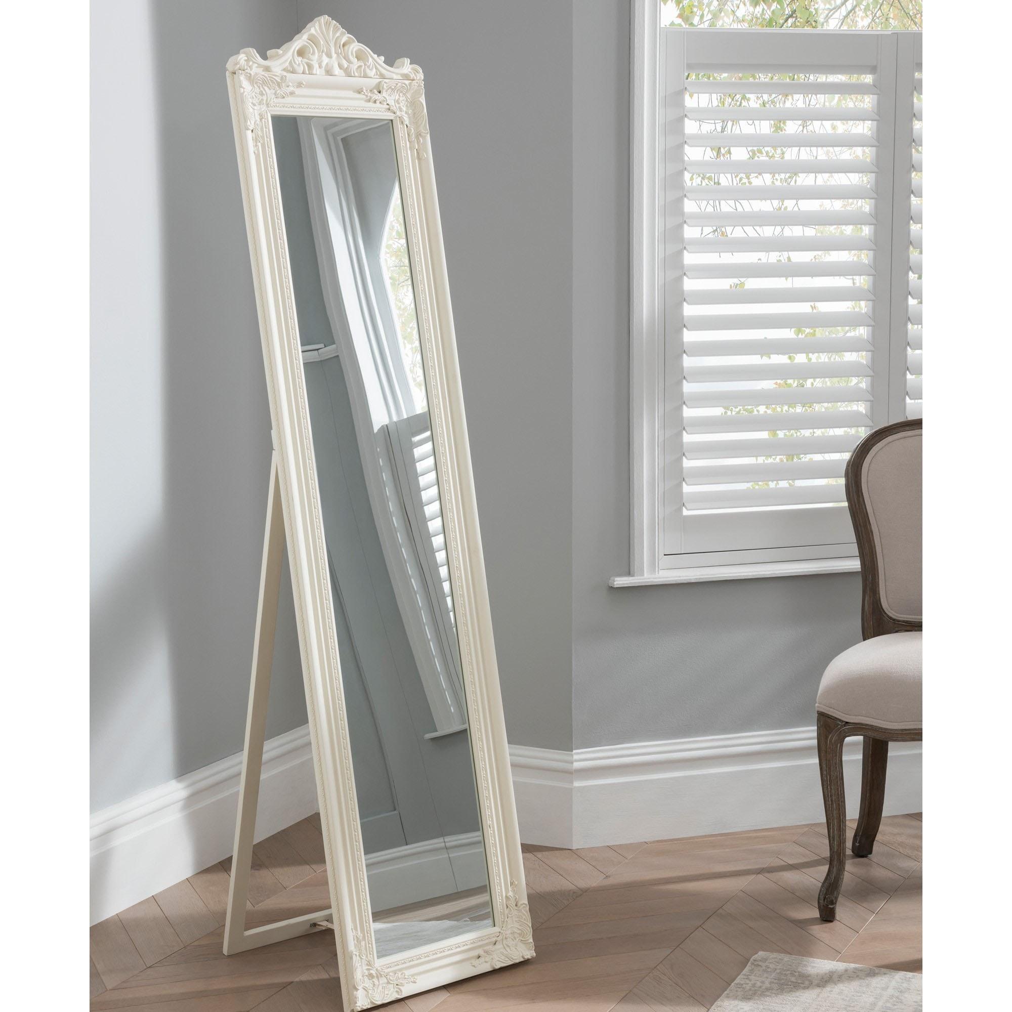 Full Length Mirror In Cream The Elizabeth Floor Standing Mirror