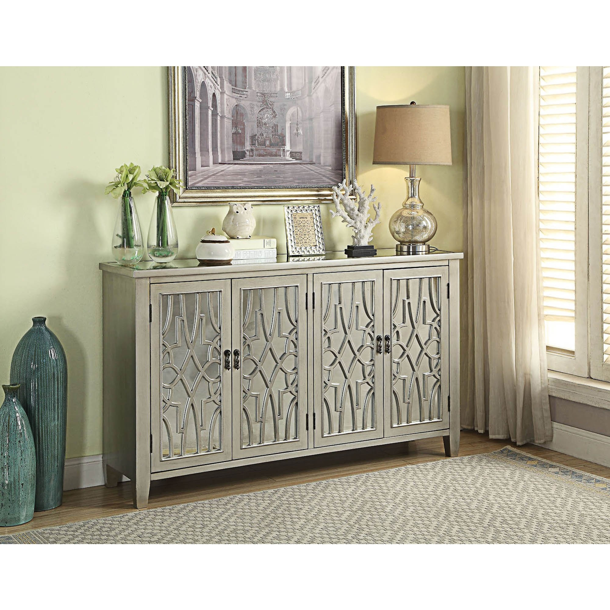 Gallo Mirrored 4 Door Sideboard Sideboard Homesdirect365