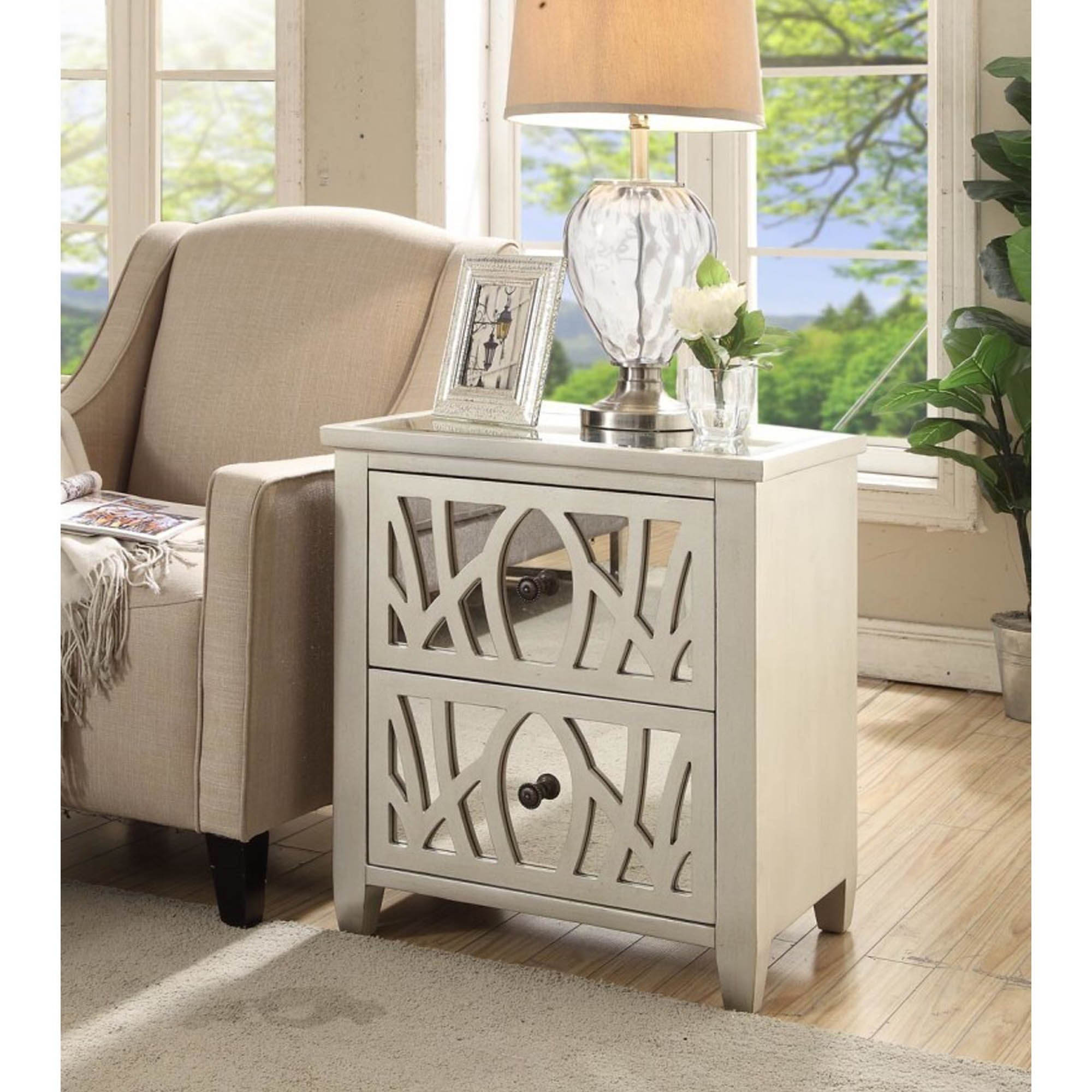 mirrored side table. Gallo Mirrored Side Table R