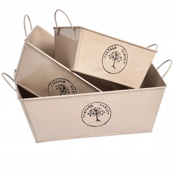 Garden Set of Three Rectangular Tin Storage Baskets
