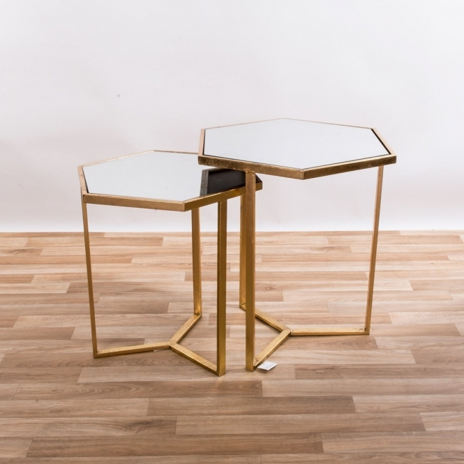Gin Shu Gold Gilt Leaf Parisienne Hexagonal Metal Tables