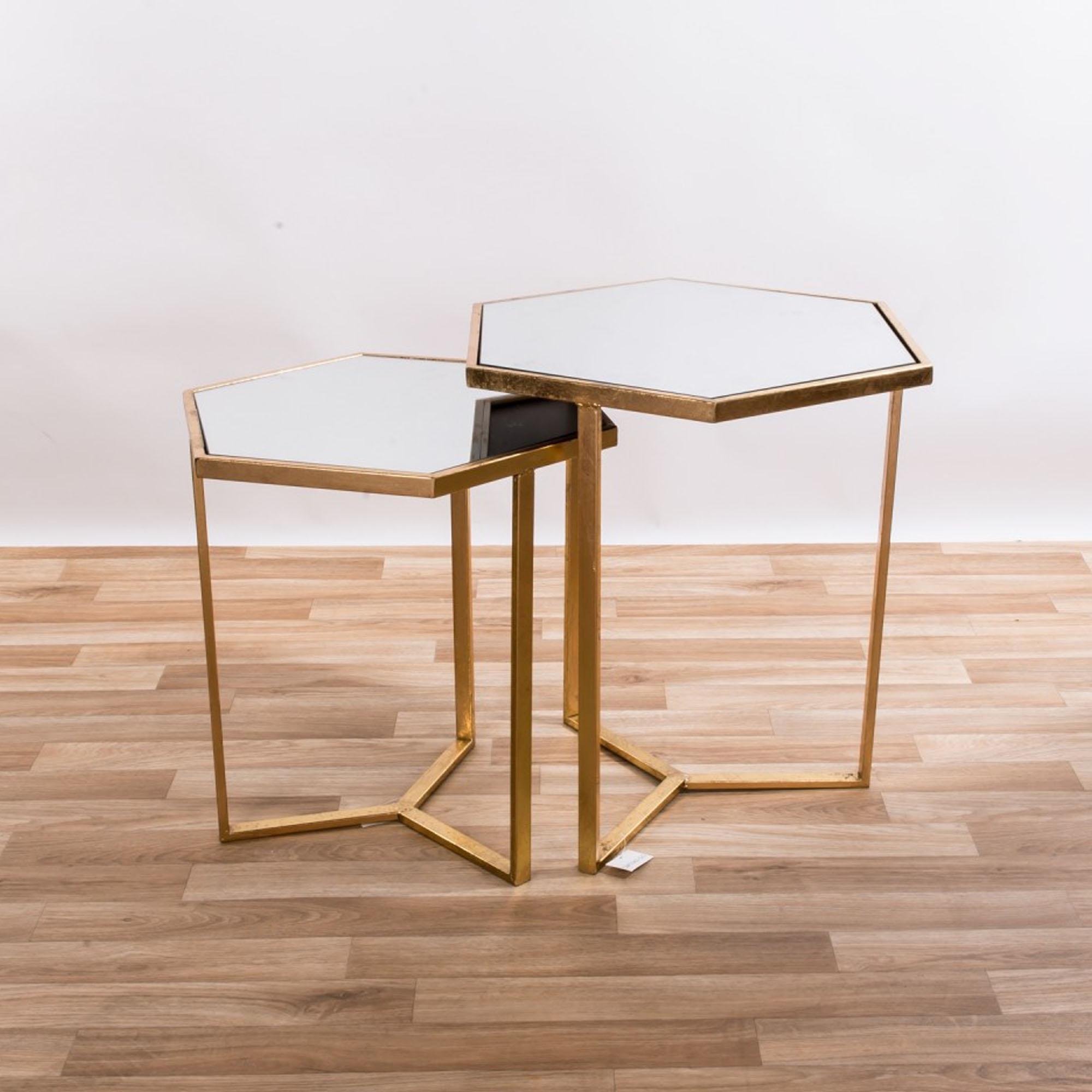 Gin Shu Gold Gilt Leaf Parisienne Hexagonal Metal Tables