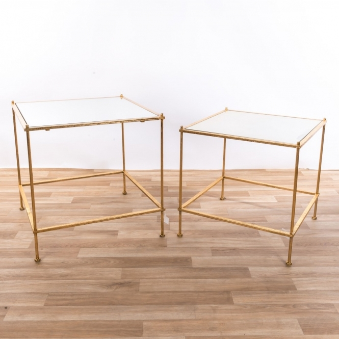 Gin Shu Gold Gilt Parisienne Metal Square Tables
