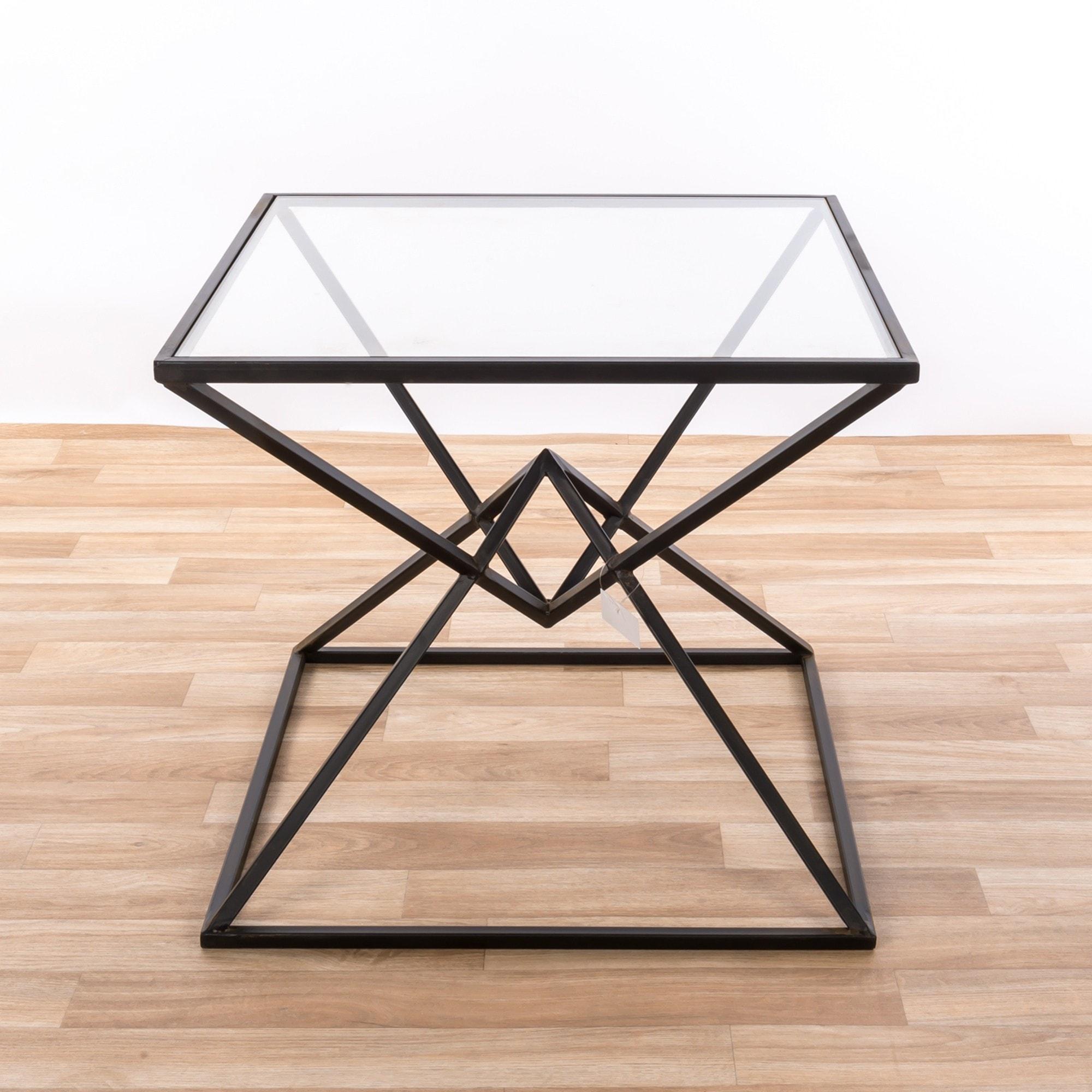 Gin Shu Metal Geometric Side Table Black