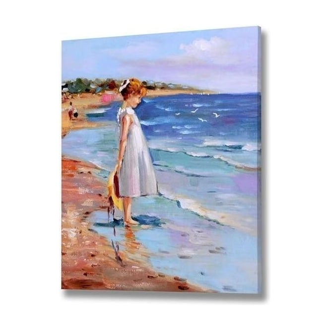 Girl Standing On Beach Handpainted Canvas