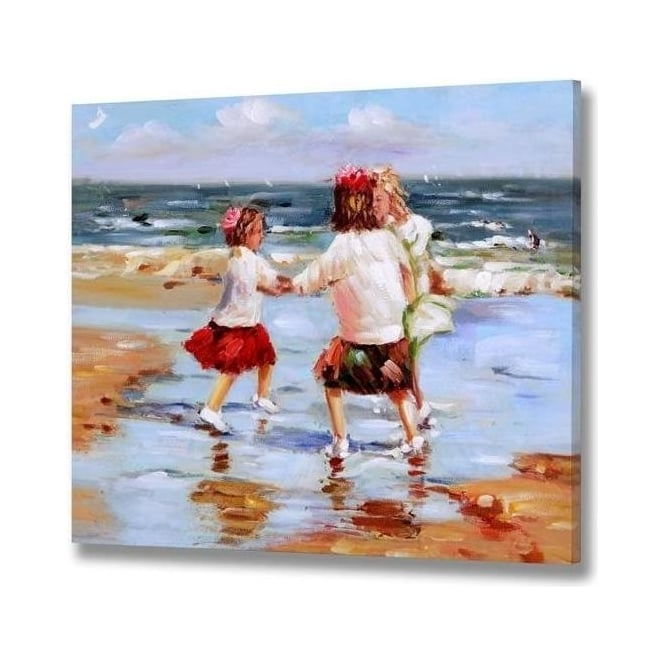 Girls Playing On Beach Handpainted Canvas