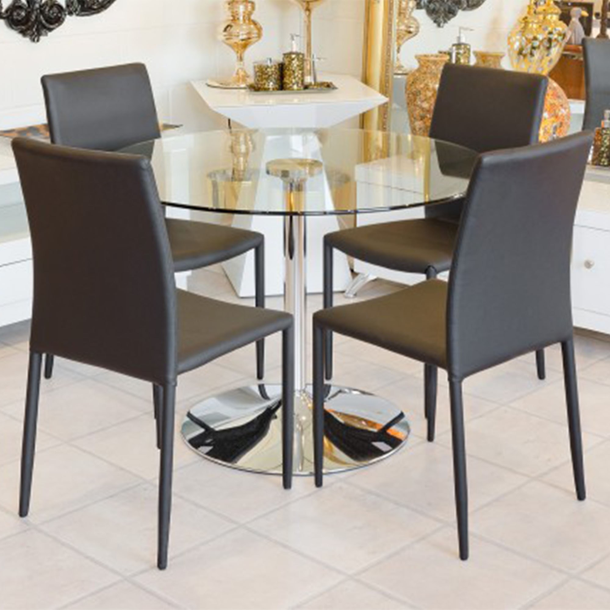 Glass Top Dining Set Modern Furniture Table Chairs