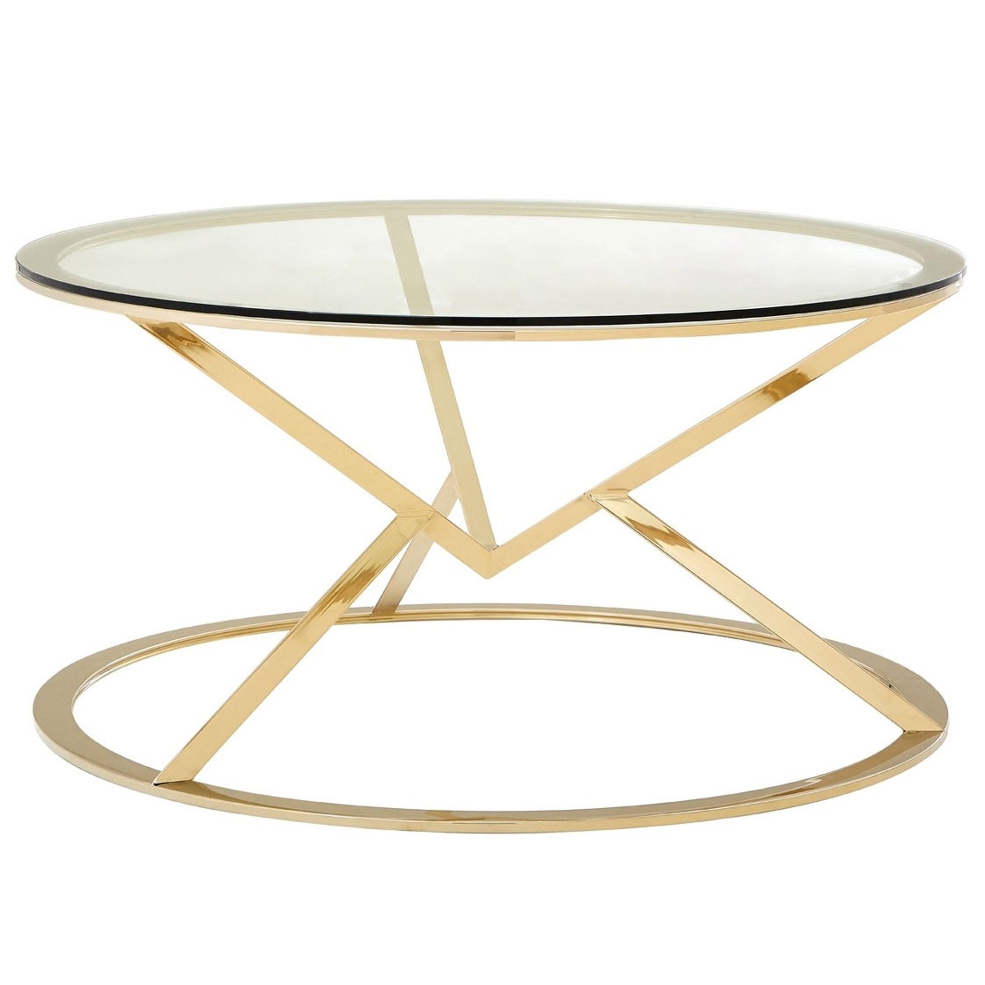 Gold Metal Round Coffee Table.Gold Allure Round Coffee Table