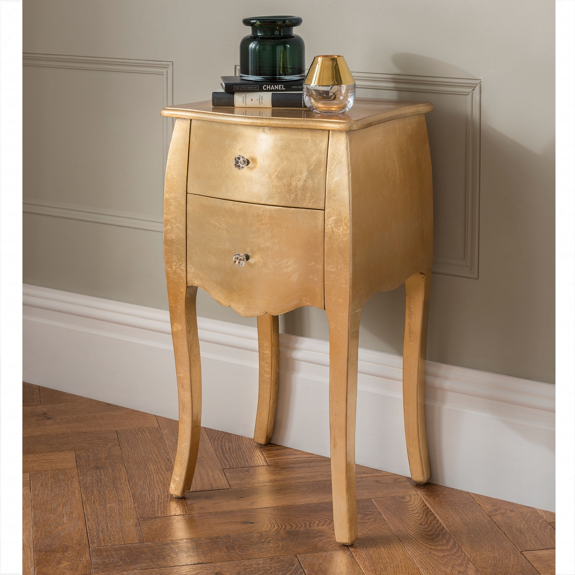 gold antique french style bedside table  french and
