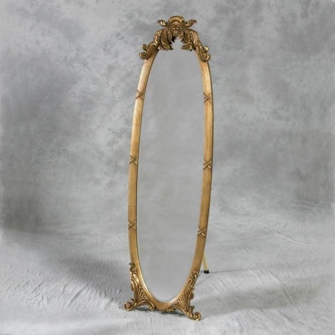 Gold Antique French Style Cheval Mirror