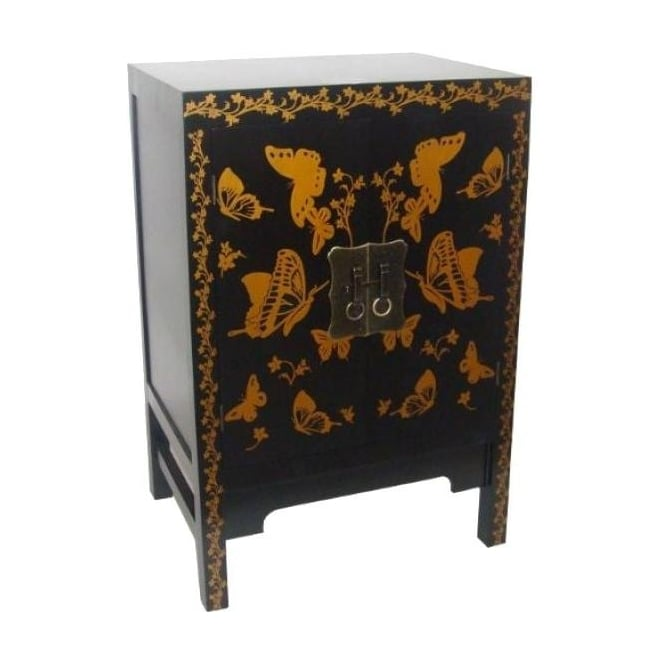 Gold Chinese Butterfly Cabinet