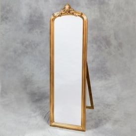 Gold Crested Antique French Style Mirror