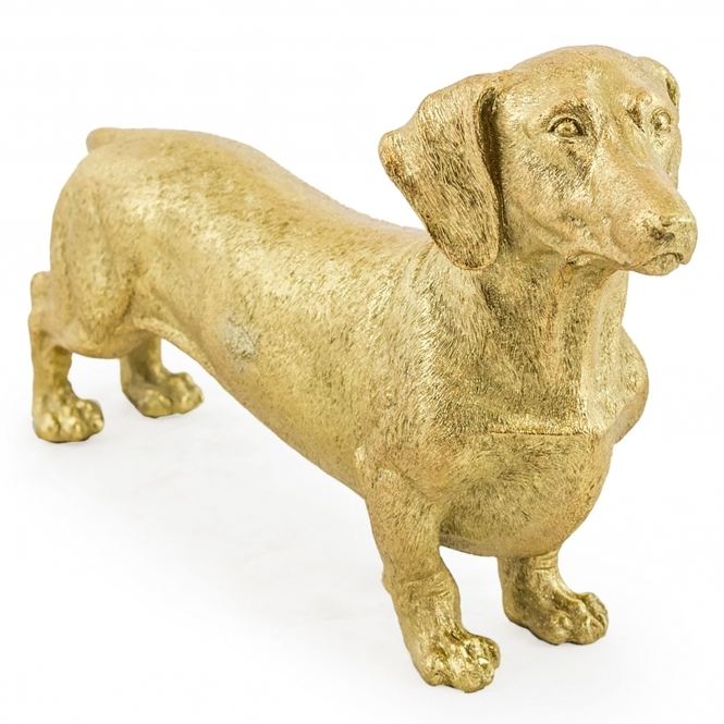 Gold Dachshund Figure