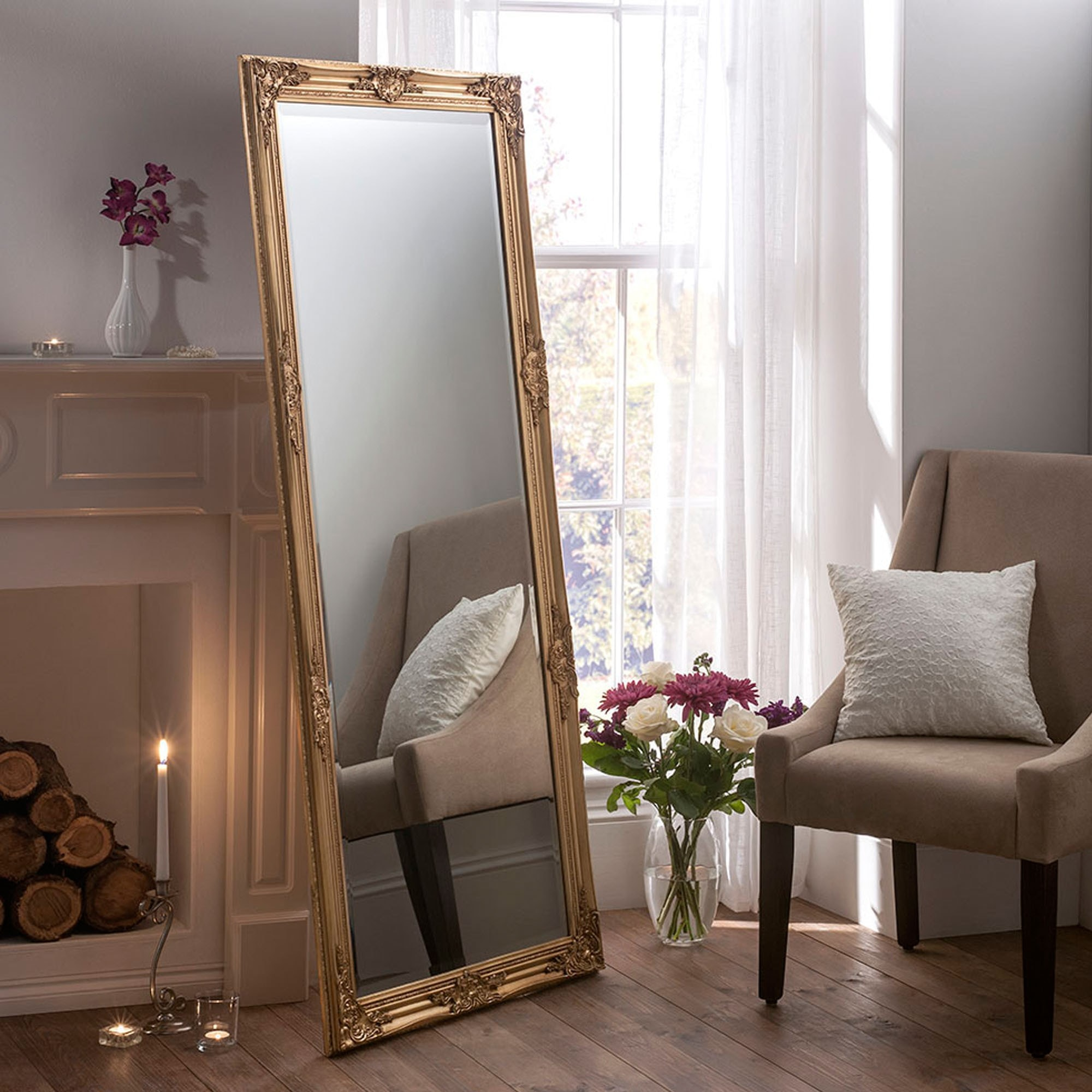 Antique French Style Florence Gold Floor Standing Mirror Floor Standing Mirrors