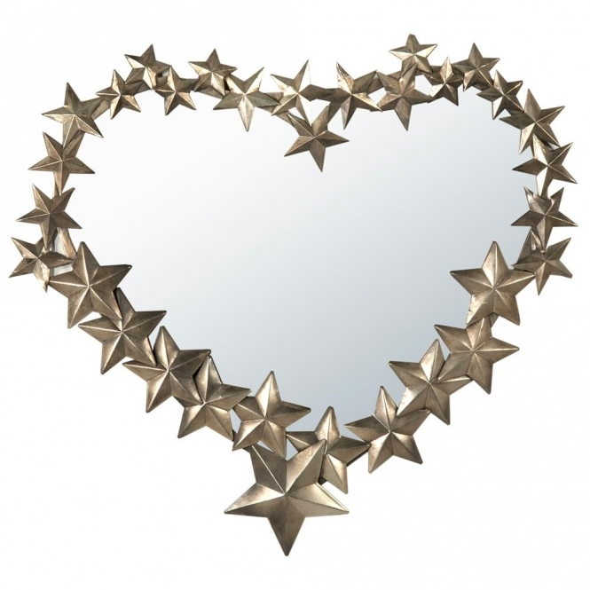 Gold Heart Metal Framed Mirror