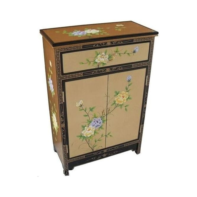 Gold Leaf Antique French Style Cabinet