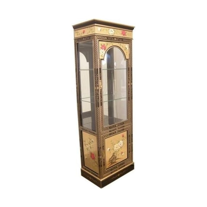 Gold Leaf Antique French Style Display Cabinet