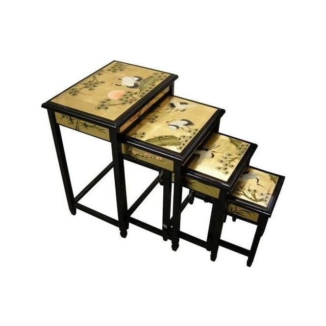 Gold Leaf Antique French Style Nest Of Tables