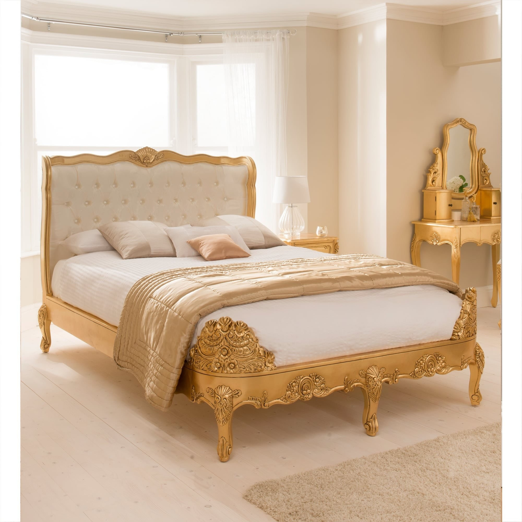Picture of: Buy Baroque Upholstered Gold Leaf Bed