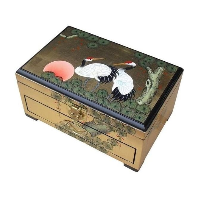 Gold Leaf Jewellery Box with Chinese Lock