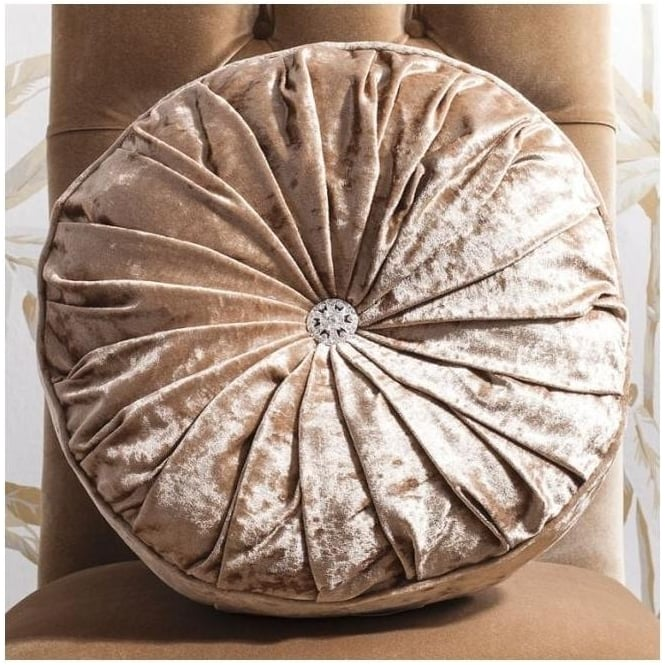 Gold Loire Round Velvet Cushion