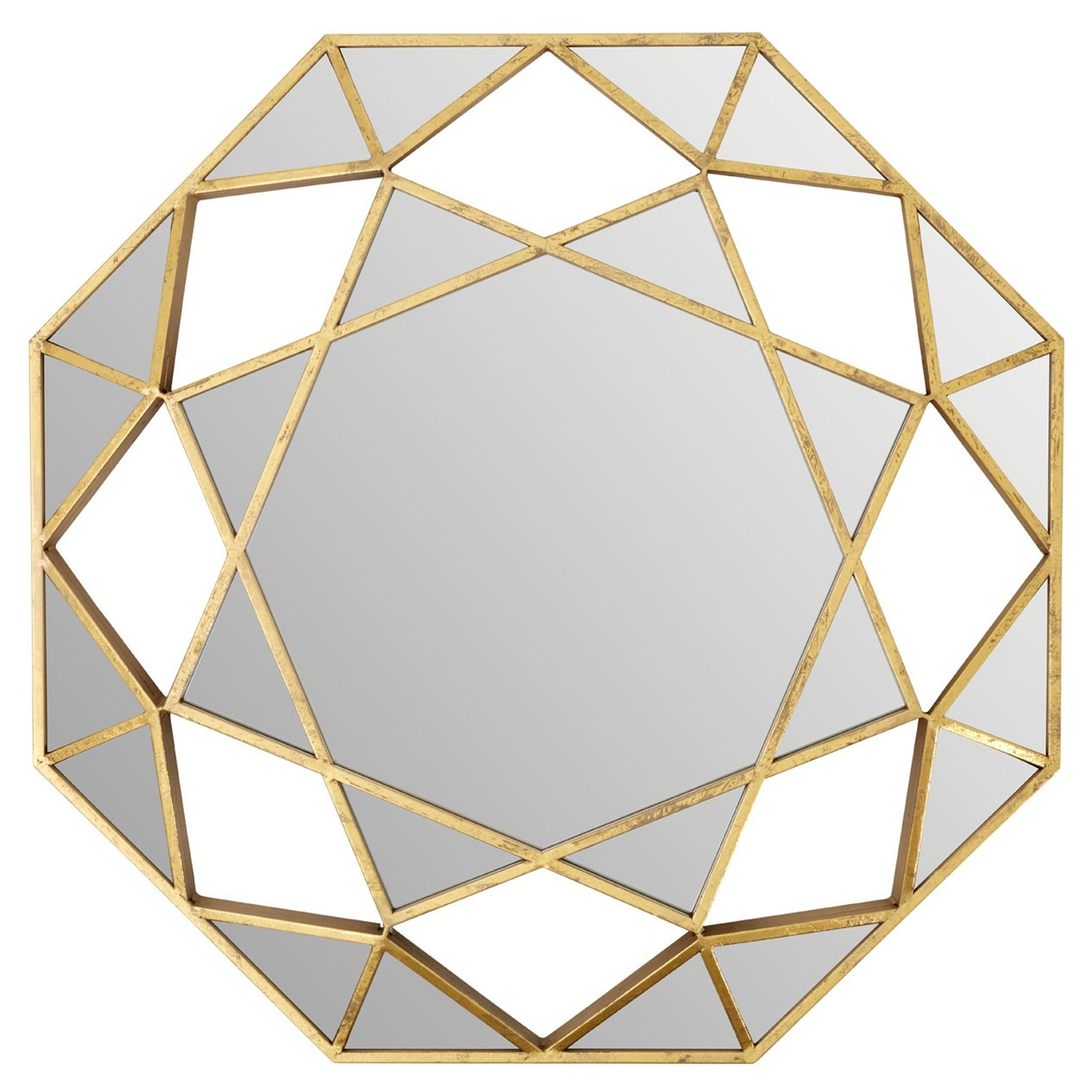 Gold Marcia Faceted Octagonal Wall Mirror Modern Wall Mirrors