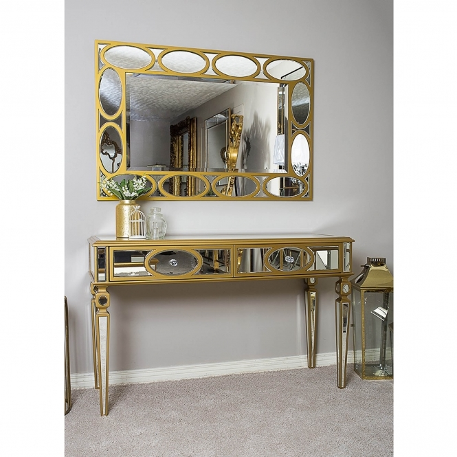 Gold Mirrored Console and Mirror Set