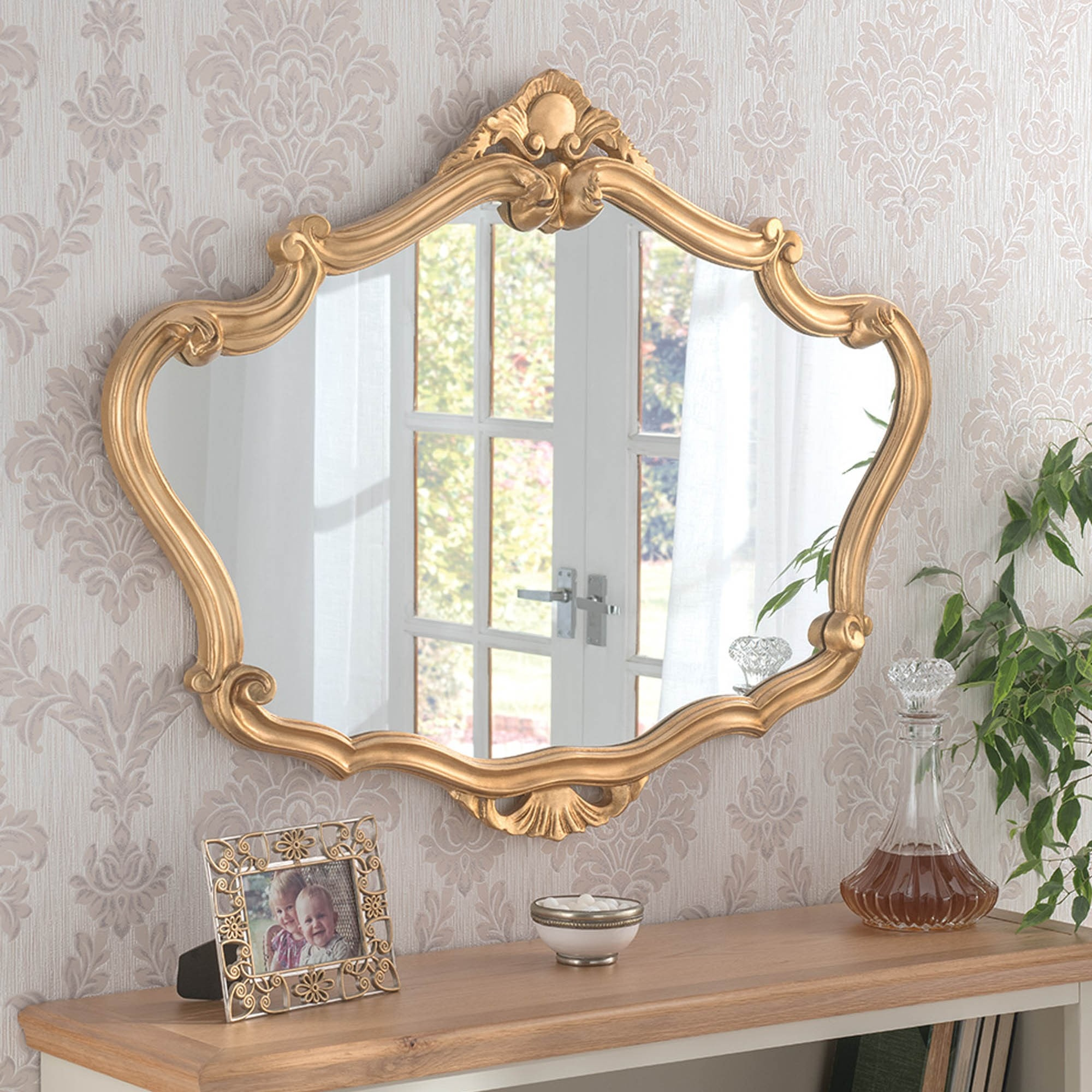 Gold Ornate Detailed Large Mirror Gold Decorative Mirror
