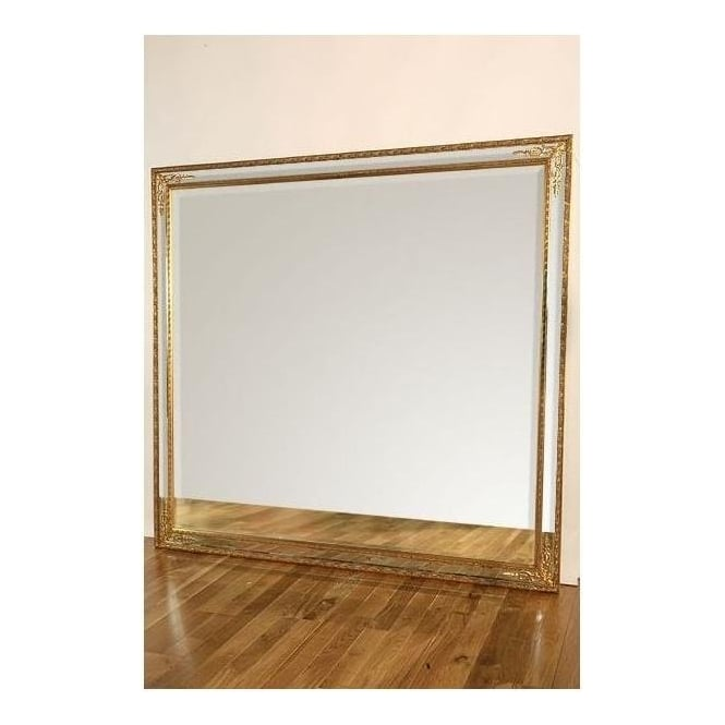Gold Rectangular Antique French Style Floorstanding Mirror