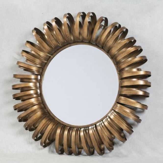 Gold Round Metal Framed Mirror