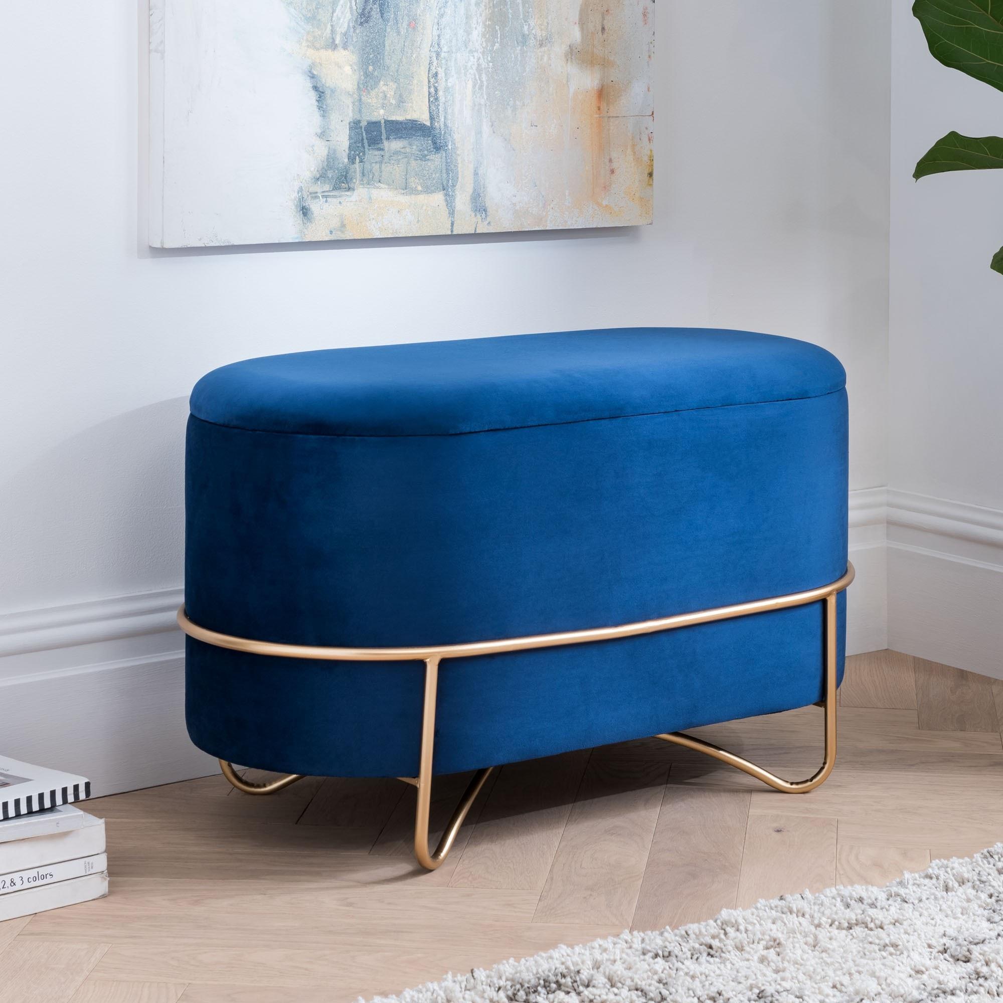 Gold Royal Blue Velvet Ottoman Storage Bench Storage Bench Bench