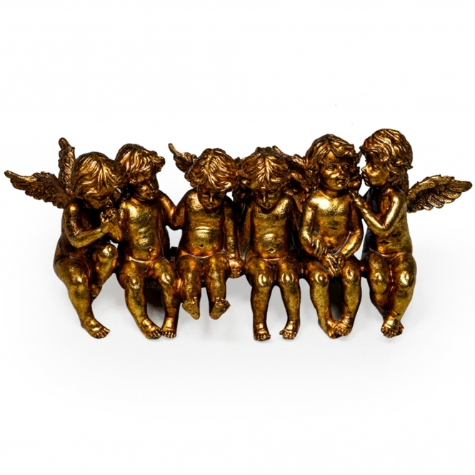 Gold Sitting Angels Shelf Decoration